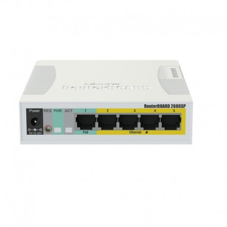 RB260GSP -5x Gigabit POE-OUT Ethernet Smart Switch, SFP cage, plastic case, SwOS